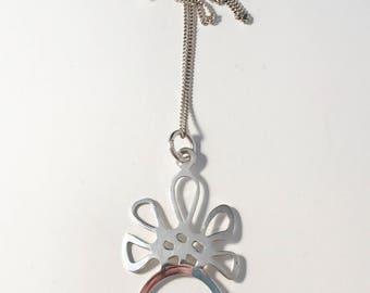Vintage Modernist Sterling Silver Rock Crystal Pendant Necklace.
