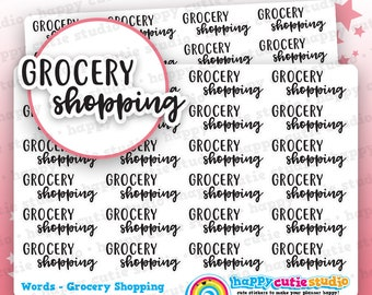 24 Cute Grocery Shopping Words/Functional/Planner Stickers, Filofax, Erin Condren, Happy Planner, Kawaii, Cute Sticker, UK