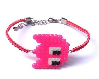 Pink Monster Shamballa Bracelet, Ghost Shamballa Bracelet, Perler Ghost Charm Bracelet, Perler Monster Shamballa Bracelet