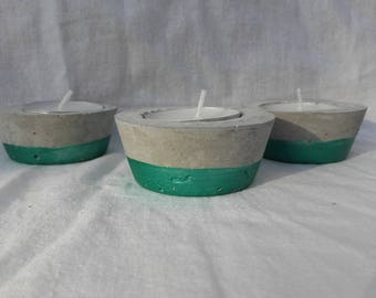 Round mother of pearl green concrete candle holder