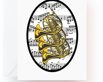 French Horn Note Cards, Music Note Cards, Stationery, Note Cards, Blank Cards, Music Teacher Gift, Music