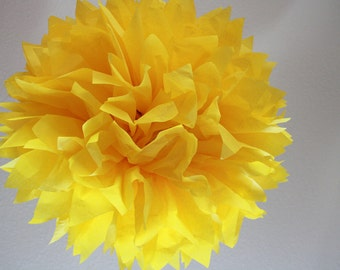 Tissue Paper Pom Pom - Large Canary - Dandelion  - Bright Yellow Pom Sesame Street party decor