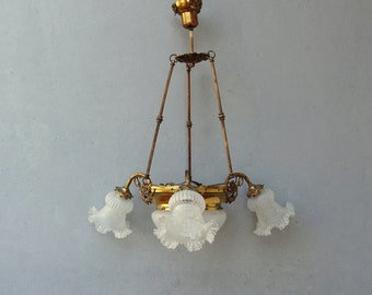 Vintage Pan Chandelier, Brass Ceiling Light, Chandelier Light Pendant, Glass Shades and Glass dome, Vintage Lighting, Rewired