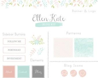 Blog Kit - Branding Kit - website banner - web design - blog design - blog elements - watercolor website design