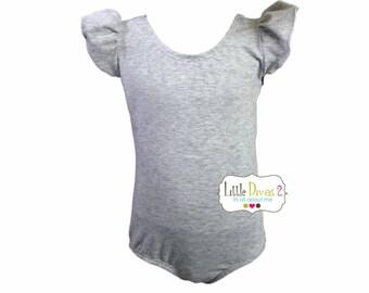 HEATHER GREY(Child) Flutter/Ruffle Sleeve Leotard-Dance-Ballet-Hip Hop-Gymnastics