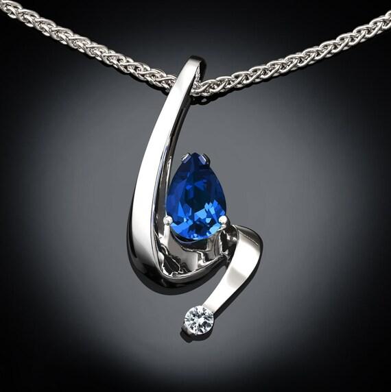 blue sapphire necklace, blue sapphire pendant, September birthstone, wedding necklace, white sapphire, contemporary jewelry - 3380