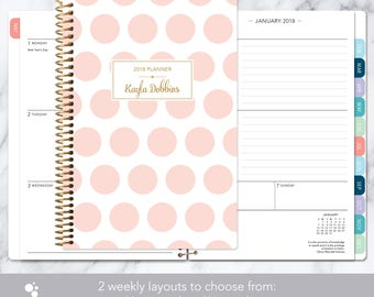 weekly planner 2018-2019 calendar choose start month | add monthly tabs student planner personalized agenda | pink and gold polka dots