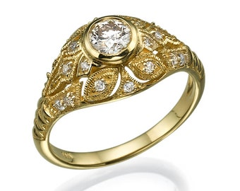 Antique Engagement Ring, Vintage Engagement Ring, Yellow Gold Ring, Halo Setting Ring, Art Deco Ring, Women Engagement Ring, Milgrain Ring