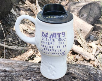 New! Travel Mug, Beauty begins the moment you decide to be yourself, Coco Chanel Pottery Handmade by Daisy Friesen