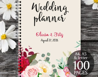 Burgundy wedding planner, Printable wedding planner, Wedding printable binder, Wedding book, Printable wedding organizer, To do wedding list