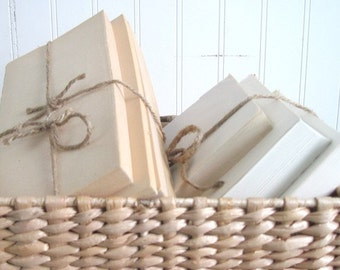 Oversized Book Bundles Bound with Jute. Whites, Creams, Beige. Natural and Neutral. Save on Bulk Orders