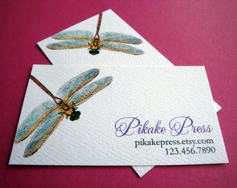 Business Cards, Calling Cards, Dragonfly, Set of 50