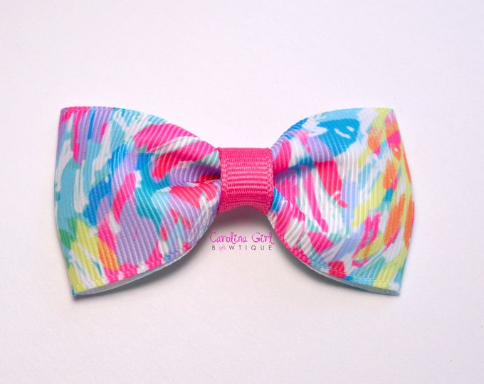 """Sparkling Sands ~ 3"""" Hair Bow Tuxedo Bow ~ Lilly Inspired ~ Simple Bow ~ Boutique Bow for Babies Toddlers ~ Girls Hair Bows"""