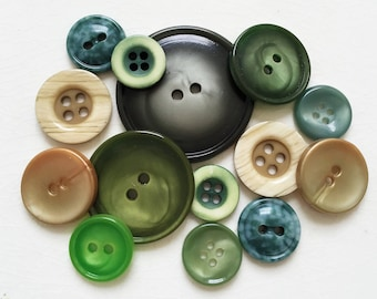 collection of shades of green vintage eco friendly modern style buttons--mixed lot of 14