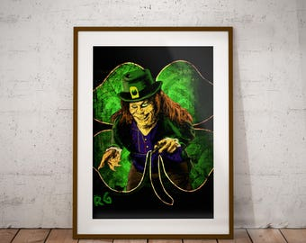 Leprechaun Horror Movie Lowbrow Wall Art Print