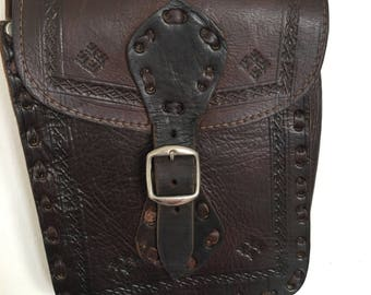 Vintage leather moroccan cross body bag with long handle