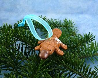 Xmas Platypus Ornament with Snowflake Tush, Handmade Christmas Decoration