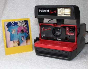 """Upcycled Red Polaroid """"Family"""" 600 OneStep With Close Up And Flash Built-In"""