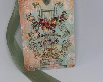 Harp with Roses Gift Tags, Rose Tags, Shabby Chic Tags , Soft Pink Tags , Vintage Rose, French Tags , Vintage INSPIRED Gift Tags
