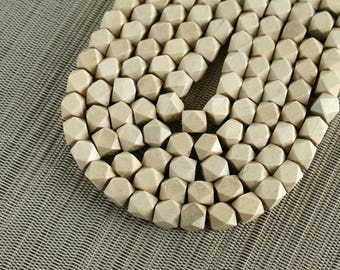 10mm Natural Whitewood Geometric Polygon Beads - Waxed - 15 inch strand