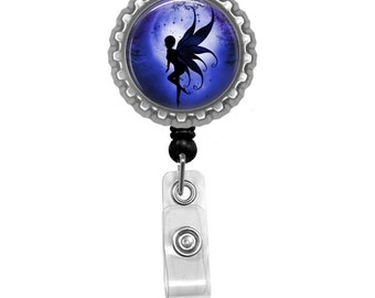 Fairy Silhouette Photo Glass/Bottle Cap Retractable ID Badge Reel