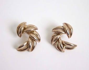VINTAGE Earrings 1980s Big Metal Pierced