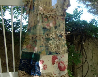 T-shirt dress dreamy roses Lagenlook boho gypsy Mori doily large beige green blue floral watercolor