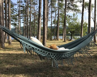 COACHELLA design hammock with fringe, very trendy for a chic and Bohemian, inside and outside, 2 people in grey blue