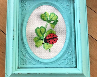 Handmade Cross Stitched Framed Lady Bug Clover Picture