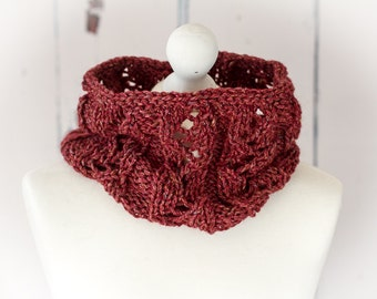 Hand Knit Simone Cowl, Neckwarmer - Berry - Luxury Llama/Wool/Silk/Linen Blend