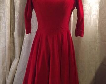 1950's Vintage Red Velvet Dress