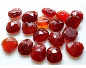 Chalcedony RoseCut, Red Flat Cabochons, Red Onyx Rose Cut, Rose Cut Gemstones 11x12mm To 13x15mm Each, 10 Pieces