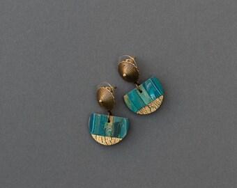 Small drop earrings Simple geometric earrings Minimalist modern earrings Polymer clay earrings Eva Andre Design