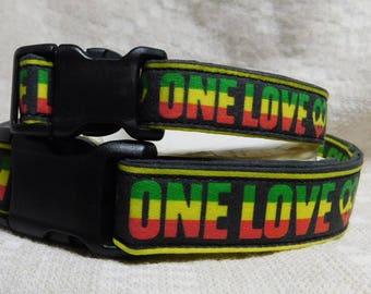 Rasta Dog Collar / One Love / Reggae Dog Collar /Rastafari / Rasta Pet / Reggae Festival /  Rastafarian