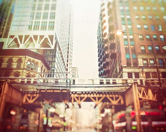 Chicago Skyline, Wall Art Print,  Chicago Loop, El Train, Photograph of Chicago, Train Decor, boys room, urban art, CTA train photography