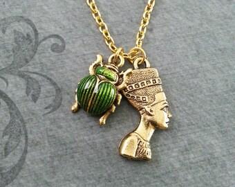 Nefertiti Necklace SMALL Nefertiti Jewelry Egyptian Necklace Egyptian Jewelry Scarab Necklace Gold Nefertiti Pendant Green Scarab Beetle