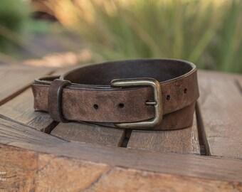 Dark Brown Leather Belt | Handmade in the USA | Rustic Leather Belt | Distressed Leather Belt