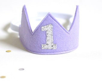 First Birthday Crown Lilac - Purple and Silver - Party hat girl -1st Birthday Crown Girl -First Birthday Girl outfit  -Birthday girl crown