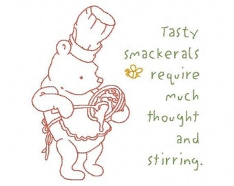 Machine line work Embroidery Designs In the Kitchen with Pooh Bear Bakery Homemade Tags Chef Love Baking