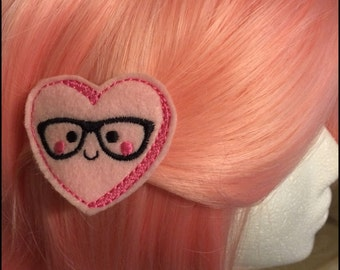 Nerdy Heart Felt Hair Clip