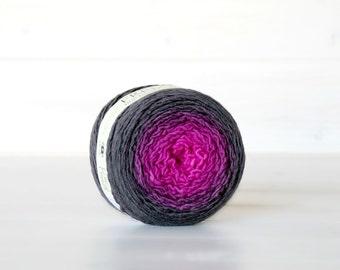Hand Dyed Gradient Yarn - 100% Wool - Color:Cochinilla Ombre - 1Ply Sport Yarn - Colorful Soft Yarns by Freia - Gorgeous Fuchsia Wool Yarn