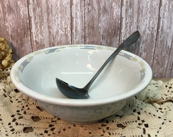 Shenango China Large Mixing Bowl/Greek Key Design/Serving/Gold/Black/Restaurant Ware