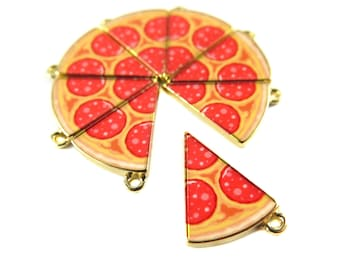 Gold Plated Peperoni Pizza Slice Charms (2x) (K322-B)
