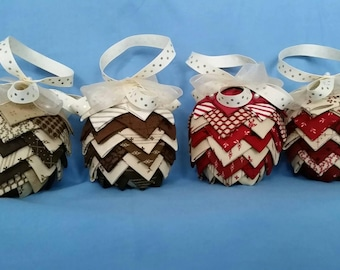 Fabric Pine Cone Ornaments - Red and Brown