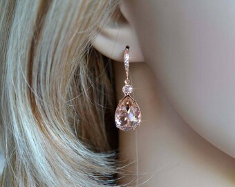 Silver, Gold or Rose Gold -- Handmade Blush Swarovski Vintage Rose Teardrop Dangle Bridal Earrings, Bridal, Wedding (Sparkle-2306-A)