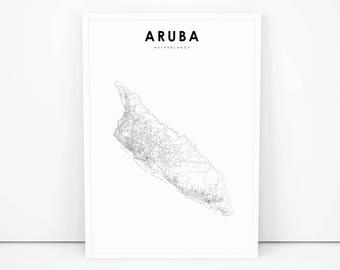 Aruba map Etsy