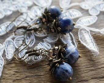"Bohemian ""Day to Night"" Dangle Earrings, Boho Chic Gypsy Rustic Crystal Jewelry Beaded Navy Royal Blue Sodalite Earrings Gift Women ByLEXY"