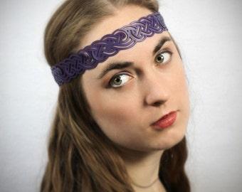 Celtic Knot Headwreath in Purple Leather