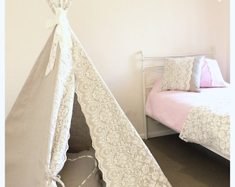 Linen Tee Pee with Full Lace Doors