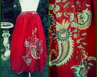 Vintage Gypsy Skirt Red Cotton Folk Paisley Floral Long Gathered Skirt 8-10 Teal Black Pink Green Floral Paisley Pattern Elasticated Waist
